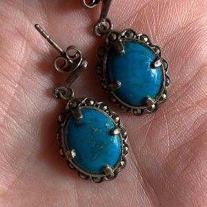 Turquoise and hematite sterling silver earrings